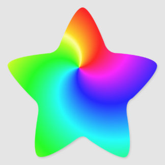 Rainbow bright swirls star sticker