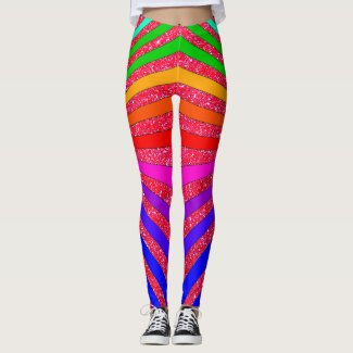 Rainbow Brights Pop Art Trendy Sparkly Fun Leggings