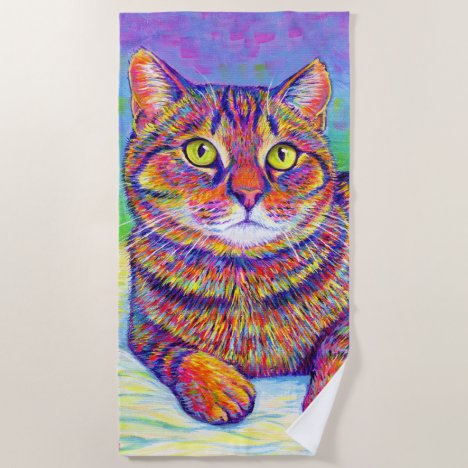 Rainbow Brown Tabby Cat Beach Towel