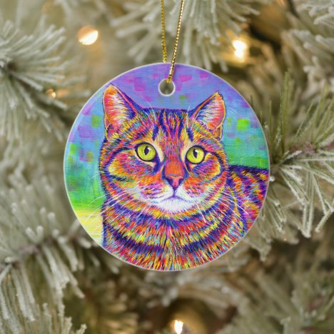 Rainbow Brown Tabby Cat Ceramic Ornament
