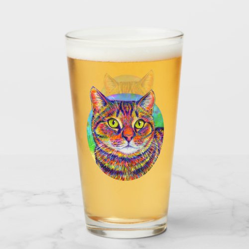 Rainbow Brown Tabby Cat Drinking Glass Cup