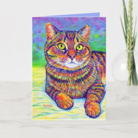 Rainbow Brown Tabby Cat Greeting Card