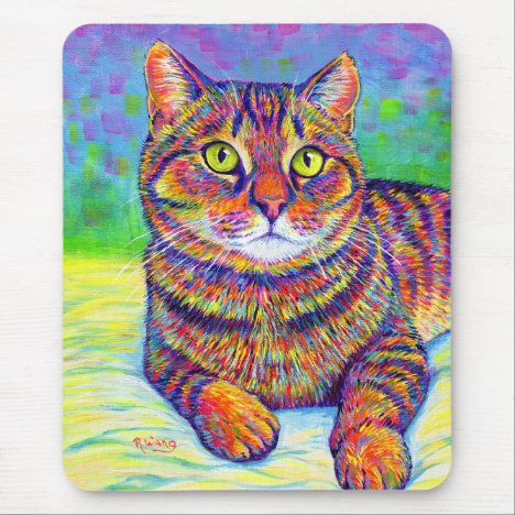 Rainbow Brown Tabby Cat Mouse Pad