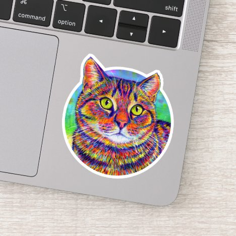Rainbow Brown Tabby Cat Vinyl Sticker