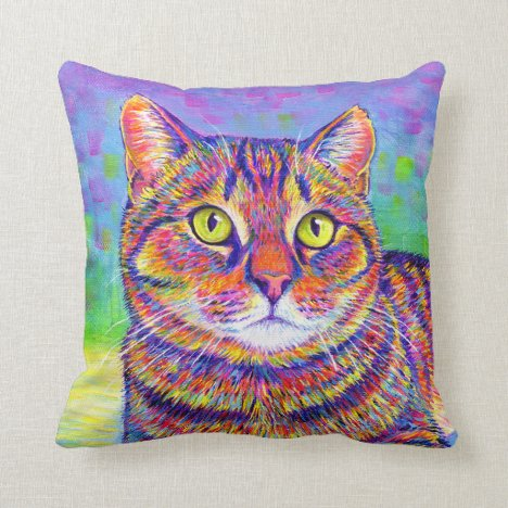 Rainbow Brown Tabby Kitty Cat Throw Pillow