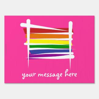 Rainbow Brush Flag Sign