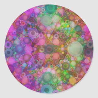 Rainbow Bubble Abstract Round Stickers