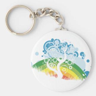 rainbow bubble sky basic round button keychain