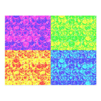 Rainbow bubble wrap pop art postcard