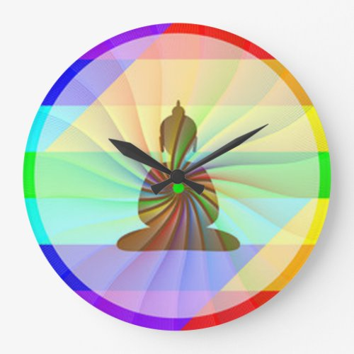 Rainbow Buddha Large Clock - cool Buddha wall clocks