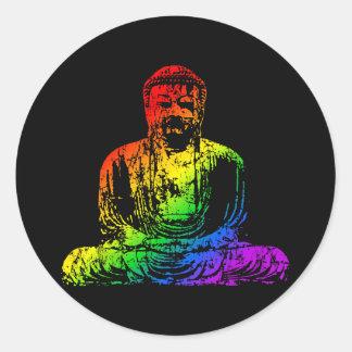 Rainbow Buddha Statue Classic Round Sticker