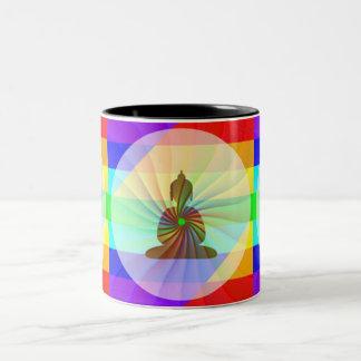 Rainbow Buddha Two-Tone Coffee Mug