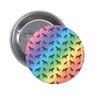 Rainbow bulldog pattern pinback button