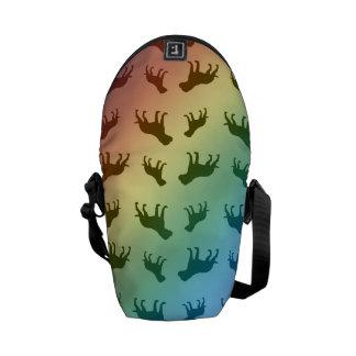 Rainbow bulldog pattern messenger bags