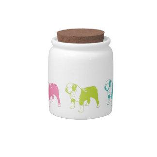 Rainbow Bulldog Treat Jar Candy Dish