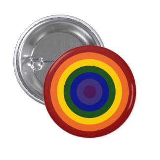 Rainbow Bullseye 1 Inch Round Button