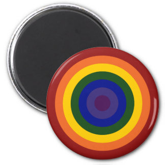 Rainbow Bullseye 2 Inch Round Magnet