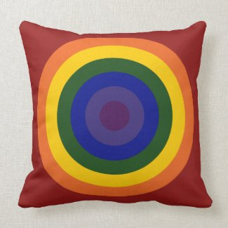Rainbow Bullseye throwpillow