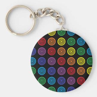 Rainbow Bullseye Black Keychain