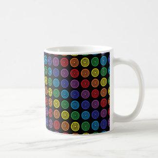 Rainbow Bullseye Black Mug