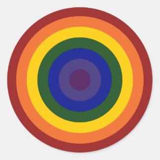 Rainbow Bullseye Classic Round Sticker