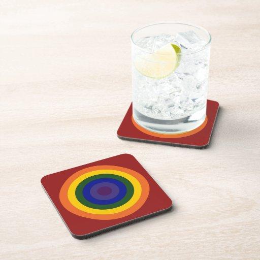 Rainbow Bullseye Drink Coasters