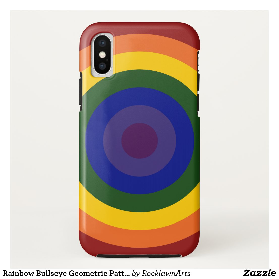 Rainbow Bullseye Geometric Pattern iPhone Case