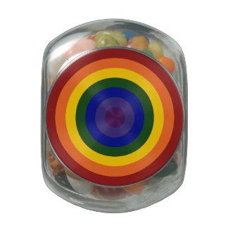 Rainbow Bullseye Glass Candy Jar