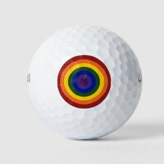 Rainbow Bullseye LGBT Pride Golf Balls