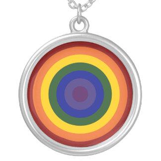 Rainbow Bullseye Round Pendant Necklace