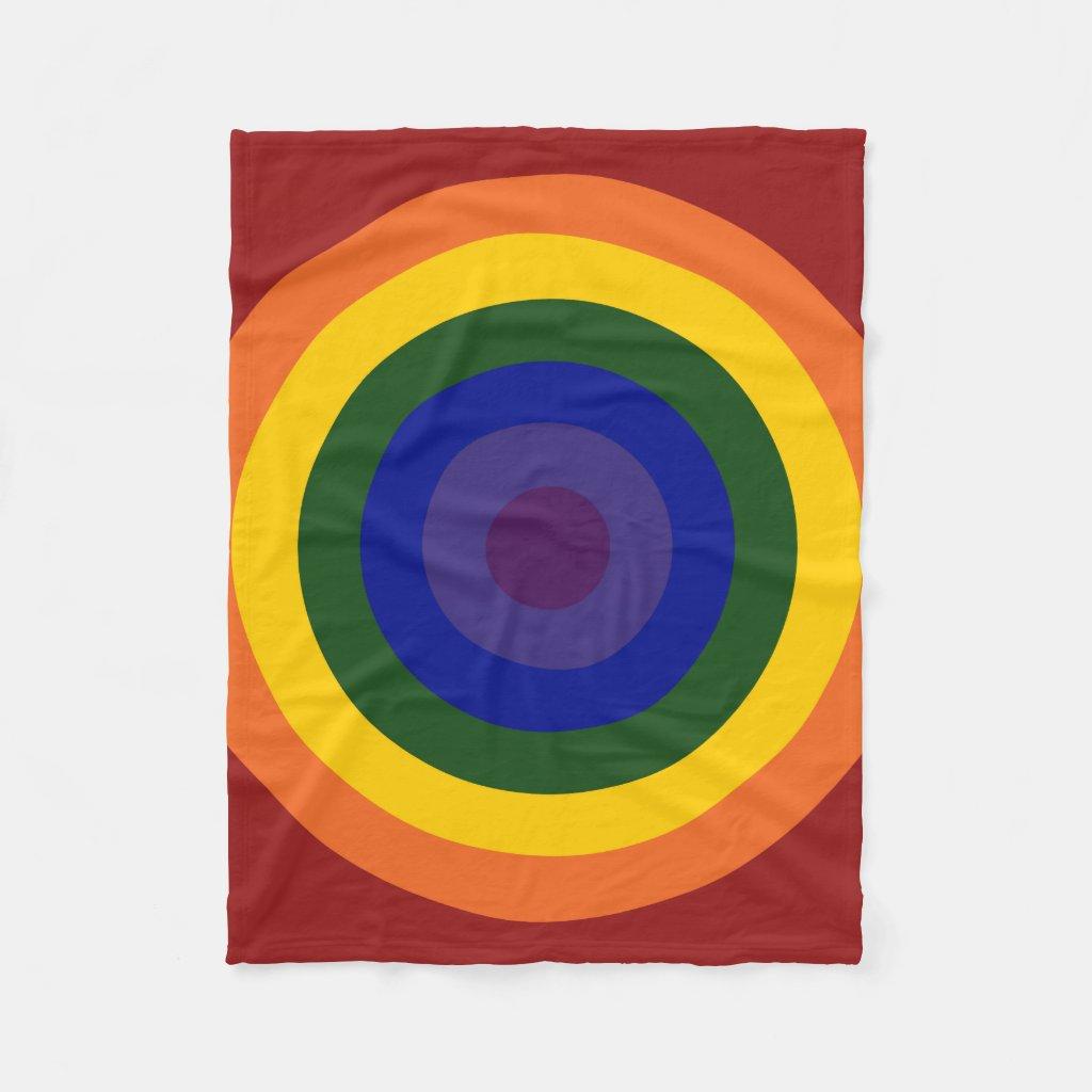 Rainbow Bullseye Pattern Fleece Blanket