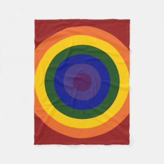 Rainbow Bullseye Pattern Fleece Blanket