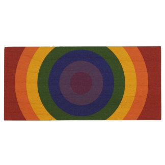 Rainbow Bullseye Pattern Wood Flash Drive