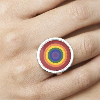 Rainbow Bullseye Photo Ring