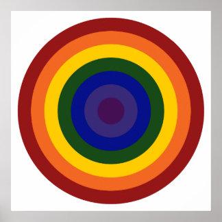 Rainbow Bullseye Print