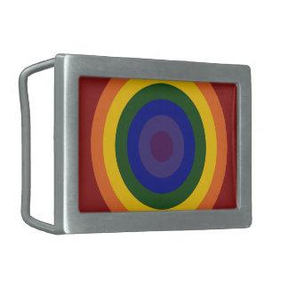 Rainbow Bullseye Rectangular Belt Buckle