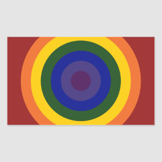 Rainbow Bullseye Rectangular Sticker