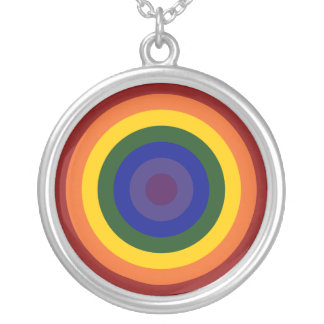 Rainbow Bullseye Silver Plated Necklace