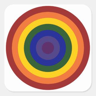 Rainbow Bullseye Square Sticker