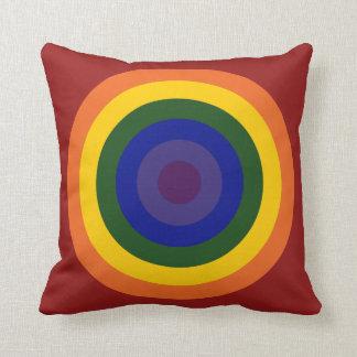Rainbow Bullseye Throw Pillow