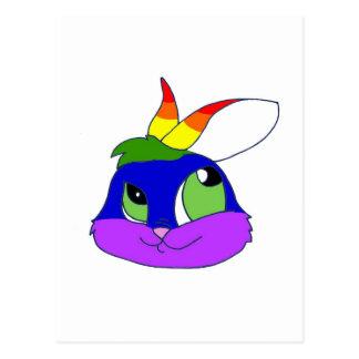 Rainbow Bunneh Postcard