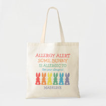 Rainbow Bunnies Food Allergy Alert Personalized Tote Bag