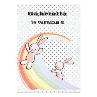 Rainbow Bunnies 5x7 Paper Invitation Card