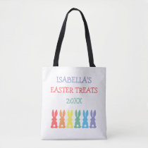 Rainbow Bunnies Personalized Easter Treats Kids Tote Bag
