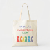 Rainbow Bunnies Personalized Easter Treats Year Tote Bag
