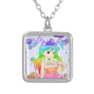 Rainbow Bunny Anime Girl Square Pendant Necklace