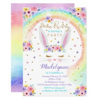Rainbow Bunny Invitation Bunny Birthday