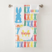 Rainbow Bunny Pattern Kids Monogram Bath Towel Set