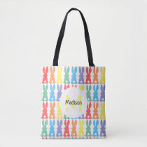 Rainbow Bunny Pattern Personalized Kids Easter Tote Bag