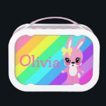 """Rainbow Bunny Rabbit Lunchbox<br><div class=""""desc"""">Personalize this cute bunny lunchbox</div>"""